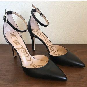 Sam Edelman Black Point Toe Ankle Strap Heels
